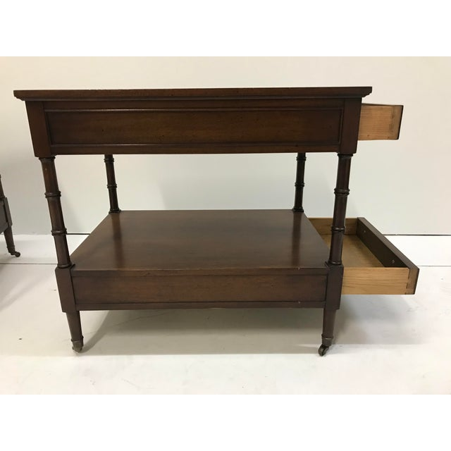 Chestnut Hekman Walnut Side Tables - Pair For Sale - Image 8 of 13