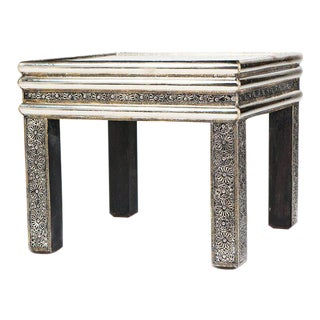 Moroccan Square Silver Metal Table With Glass Top