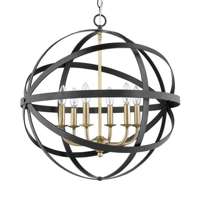 2010s The Orbit 6 Light Chandelier, Matte Black and Antique Brass For Sale - Image 5 of 5