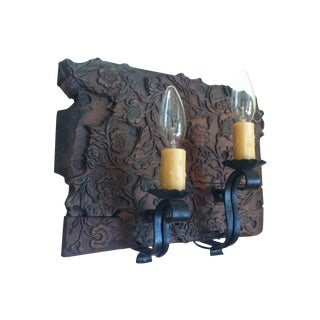 19th Century Wooden Stamp Block Custom Sconce For Sale