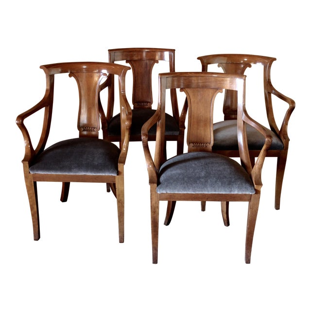 """Empire """"Chaise en Gondole"""" Fruitwood Baker Dining Chairs - Set of Four For Sale"""