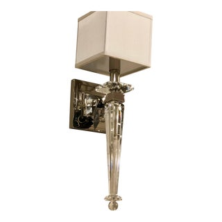 Italian Mid-Century Modern Neoclassical Style Crystal and Nickel Sconces For Sale