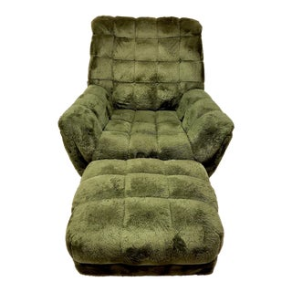 1970's Adrian Pearsall Style Green Tufted Lounge Chair & Matching Ottoman For Sale