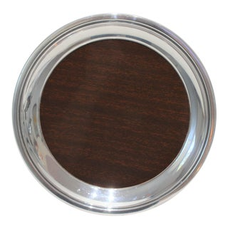 Silver Plate and Mahogany Laminate Small Tray by Crescent For Sale