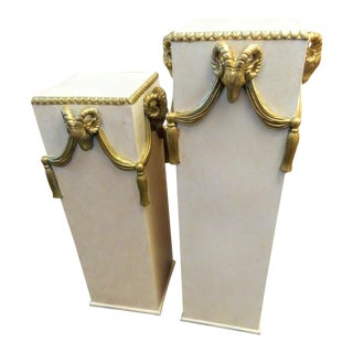 Tassel Draped Hollywood Regency Rams Head 4 Sided Pedestal Stands - a Pair For Sale