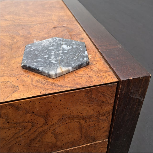Burl Wood & Mahogany 2 Drawer Side Table - Image 6 of 10