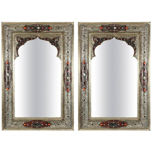 Moroccan Mirrors With Silvered Metal and Leather Wrapped - a Pair For Sale