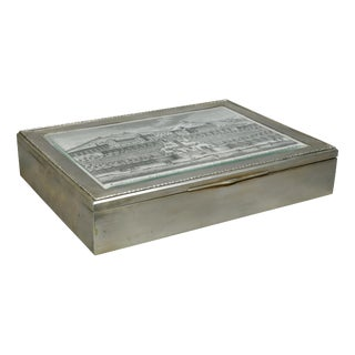 European Silver Box Containing Mother-Of-Pearl Counter Chips For Sale