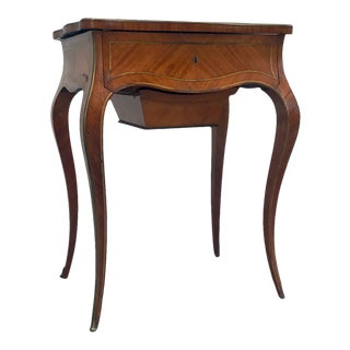 19th Century Louis XV Style Tulipwood Parquetry Sewing Table For Sale