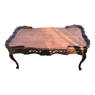 Vintage Wood Carved Coffee Table For Sale