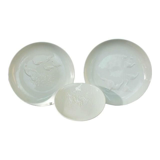 Vintage Arkadia KPM White Porcelain Birds Peacock Duck Heron Plate Dishes - 3 Pieces For Sale