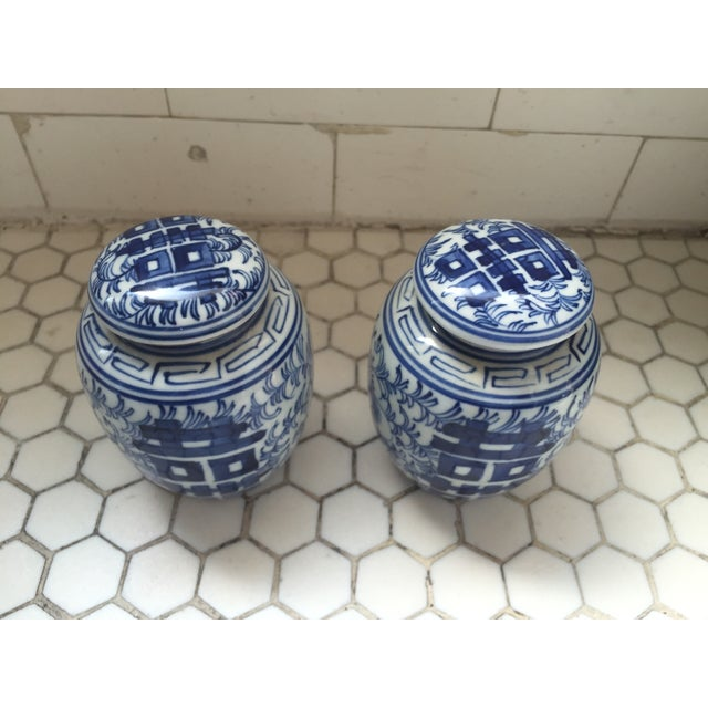Double Happiness Blue Ginger Jars - a Pair - Image 5 of 8