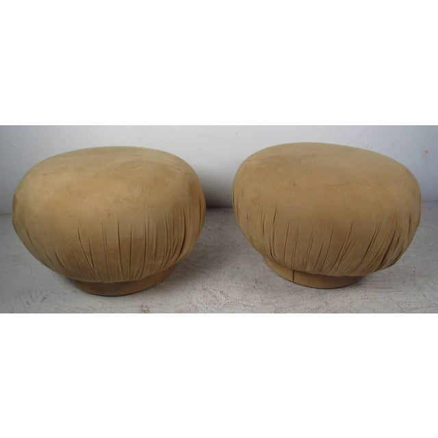 """Karl Springer Style """"souffle"""" Poufs - a Pair - Image 5 of 6"""