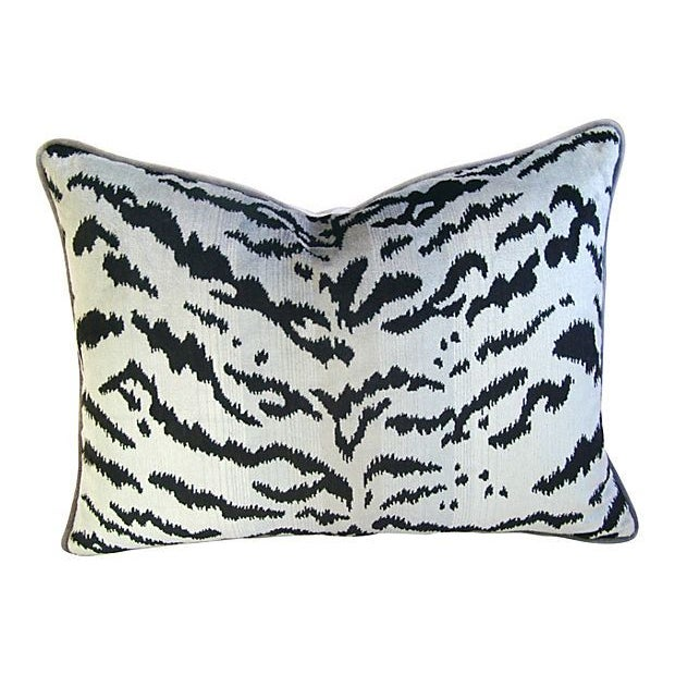 "Scalamandre Le Tigre Tiger Silver & Black Feather/Down Pillow 24"" X 18"" - Image 1 of 3"