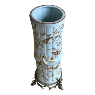 Vintage Chinoiserie Ceramic and Antique Brass-Tone Metal Bamboo-Shaped Umbrella Stand For Sale
