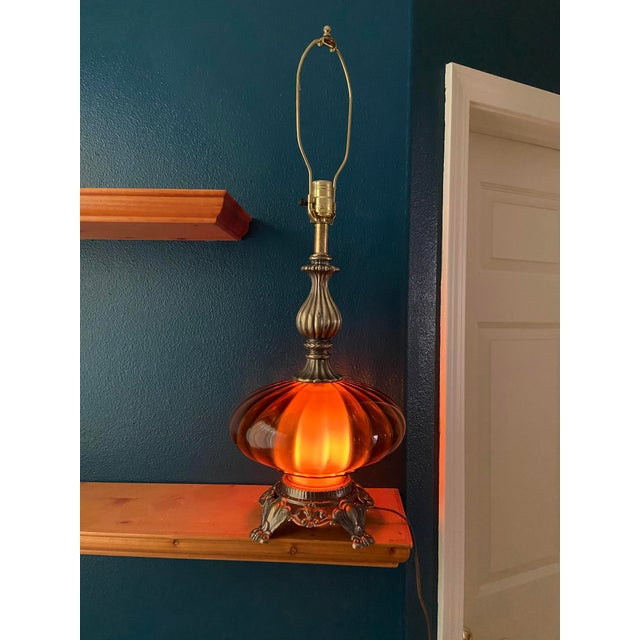 Ef & Ef Industries Amber Glass Table Lamp For Sale - Image 4 of 5