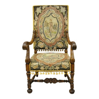 19th Century Italian Renaissance Carved Walnut Figural Needlepoint Throne Arm Chair For Sale