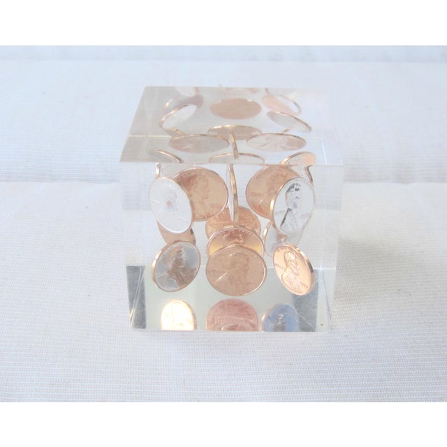Contemporary Mid Century Lucite Penny Paperweight For Sale - Image 3 of 3