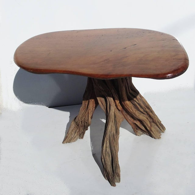1960s Free-Form Burled Wood Side Table For Sale - Image 5 of 5