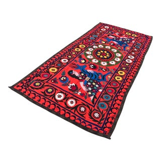 Suzani Animals and Flowers Table Cover / Bedspread - 5' x 10' For Sale