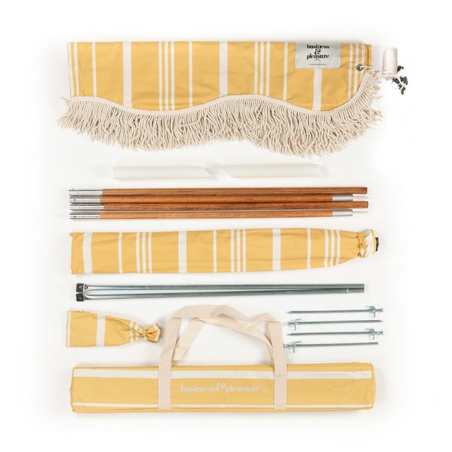 Beautiful vintage yellow and natural stripes for a classic, retro look and feel. Backed by a vintage yellow block-out...