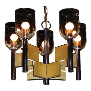 Gaetano Sciolari Chrome & Brass Chandelier For Sale