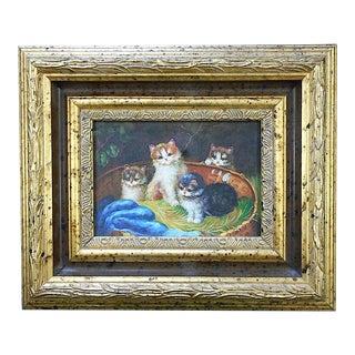 Vintage Framed Kittens Oil On Canvas For Sale