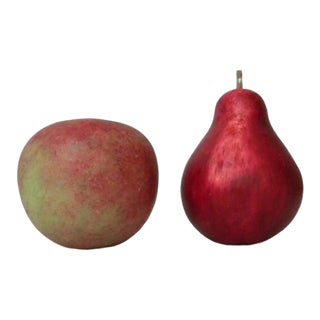 Italian Hand-Painted Alabaster Honeycrisp Apple and Red Bartlett Pear Figurines - a Pair For Sale