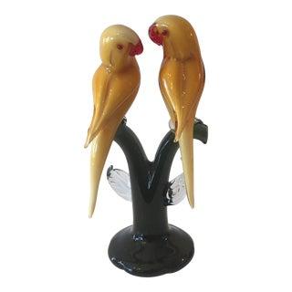 1950s Murano Hand - Blown Yellow Glass Love - Birds Sculpture For Sale