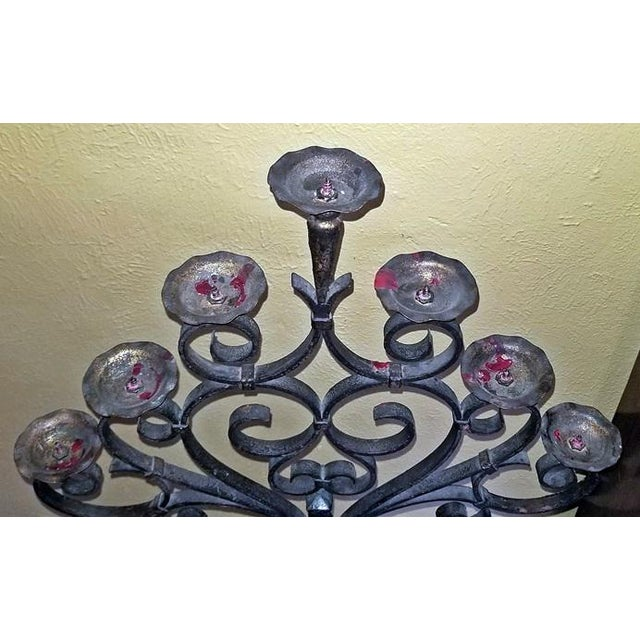 18c Spanish Cast Iron Floor Candelabra - Image 3 of 10