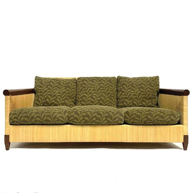 Rare and Stunning John Hutton for Donghia Mahogany and Wrapped Woven Wicker Sofa For Sale - Image 13 of 13