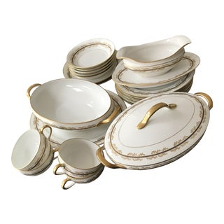 1850s French Tressemanes & Vogt Limoges Porcelain Service China Set - 21 Pieces For Sale