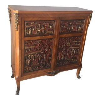French Cabinet With Asian Temple Carvings For Sale