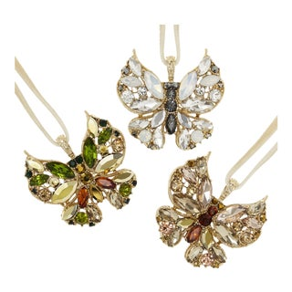 Butterfly Hanging Ornaments, Neutral - Set of 3 For Sale