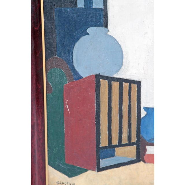 20th Century American Abstract Still Life by Flora Scofield, Oil on Canvas For Sale - Image 4 of 12