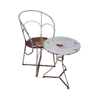 Antique French Iron Garden Table Set For Sale