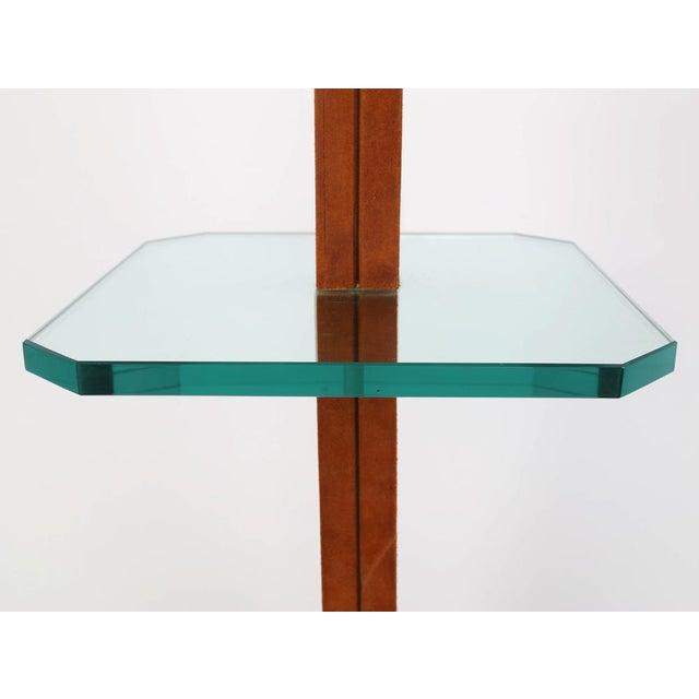 Karl Springer KARL SPRINGER CHROME, SUEDE AND GLASS LAMP TABLE For Sale - Image 4 of 7