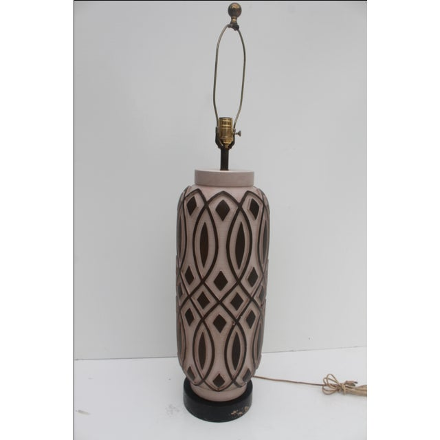 Boho Chic Vintage F.I.A.P. Art Pottery Table Lamp For Sale - Image 3 of 11