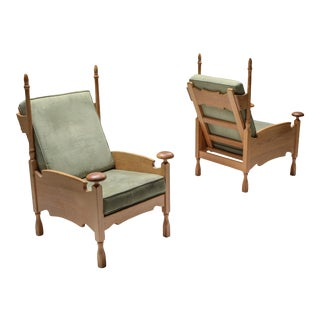 Natural Oak Throne Lounge Chairs - 1950's For Sale