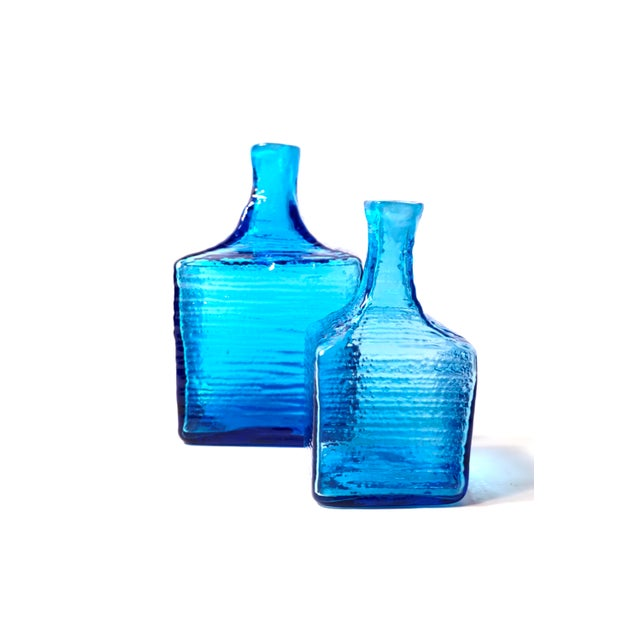 Abstract Blenko|• 6224l & 6224s Turquoise Blown Art Glass Decanters / Vases by Wayne Husted For Sale - Image 3 of 13