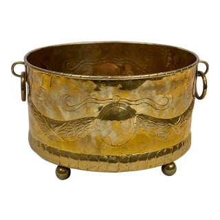 Vintage Mottahedeh Patinated Brass Planter For Sale