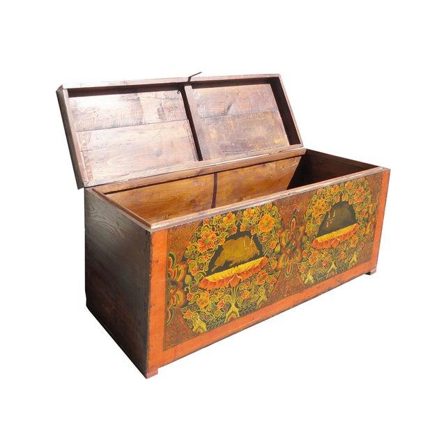 Antique Tibetan Elm Wood Graphic Storage Trunk - Image 4 of 7
