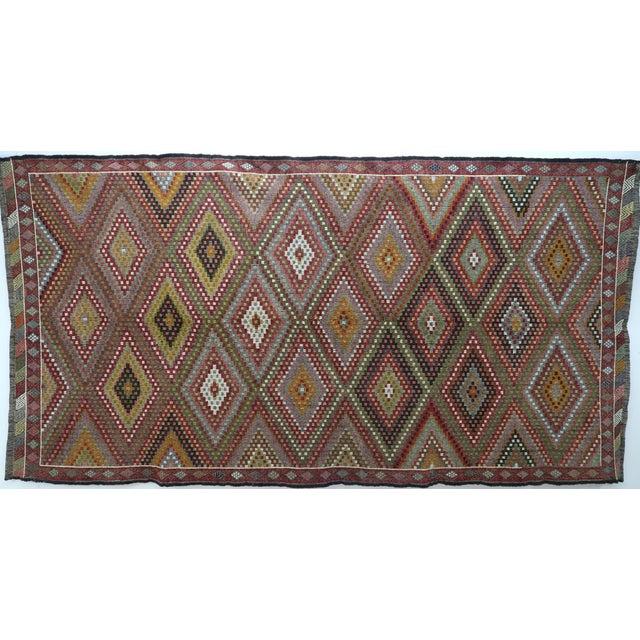 "Vintage Turkish Kilim Embroidered Rug-5'10'x11'3"" For Sale - Image 13 of 13"