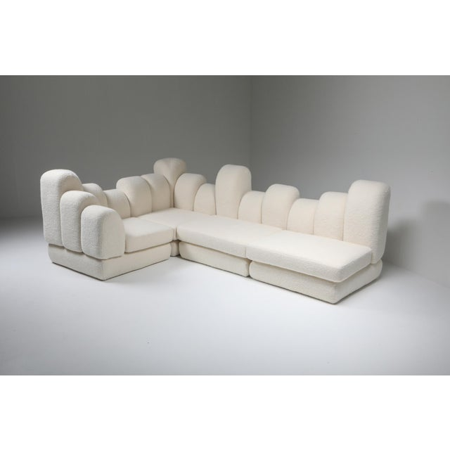 White Hans Hopfer 'Dromedaire' Sectional Sofa in Pierre Frey Wool, Roche Bobois - 1974 For Sale - Image 8 of 12