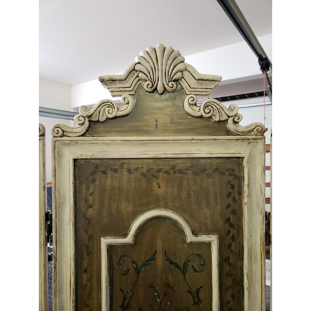 Gorgeous Antique French Renaissance Revival Hand Painted Screen. This is a beautiful antique that has been refreshed to...