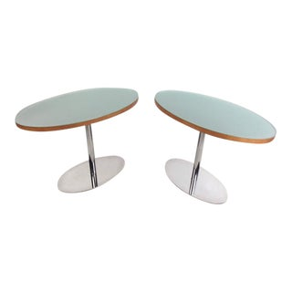 Pair of Chrome and Glass Pedestal Tables