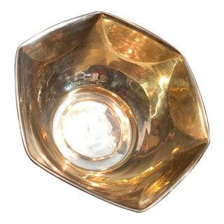 Late 20th Century Vintage Brass Hexagon Bowl / Centerpiece Flower Holder Planter For Sale