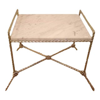 Twisted Silver Gilt Metal Bench or Side Table