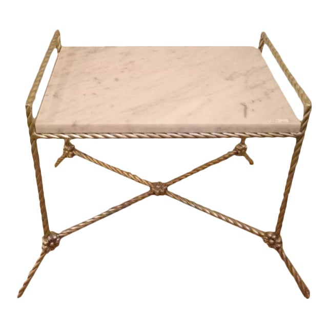Twisted Silver Gilt Metal Bench or Side Table For Sale