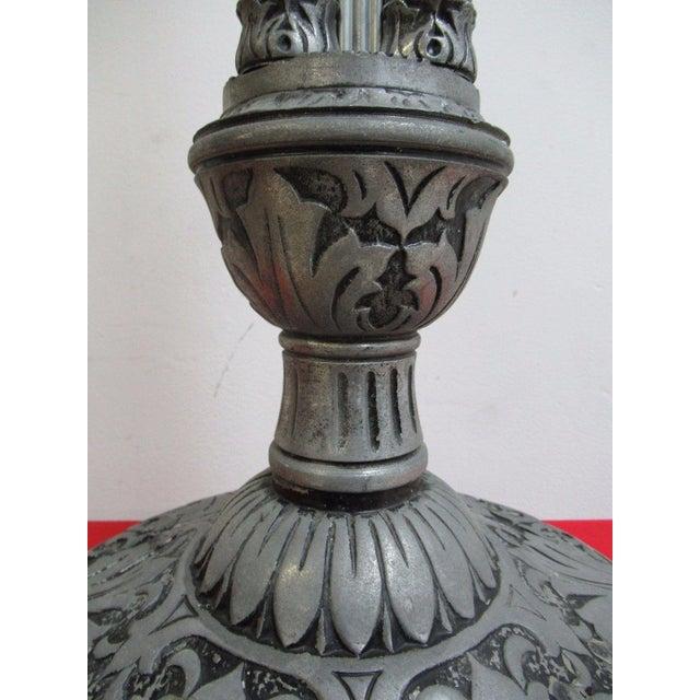Antique Aluminum Carved Industrial Regency Pedestal Candle Base For Sale - Image 5 of 10